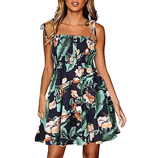 7c35df45cdfeb Rucan Womens Hawaiian Dresses Off The Shoulder Floral Short Sleeve ...
