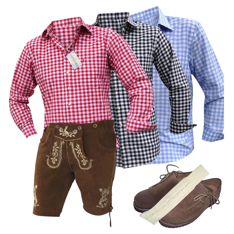 Trachten-Anzug Lederhosen Plattler+Hemden+Schuhe (Haferl)+Strümpfe+Träger Braun Echt Leder Herren (54)