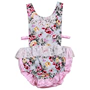 Newborn Baby Girl Clothes Printed Lace Romper Jumpsuit Summer Baby Outfits 3-6Months Pink