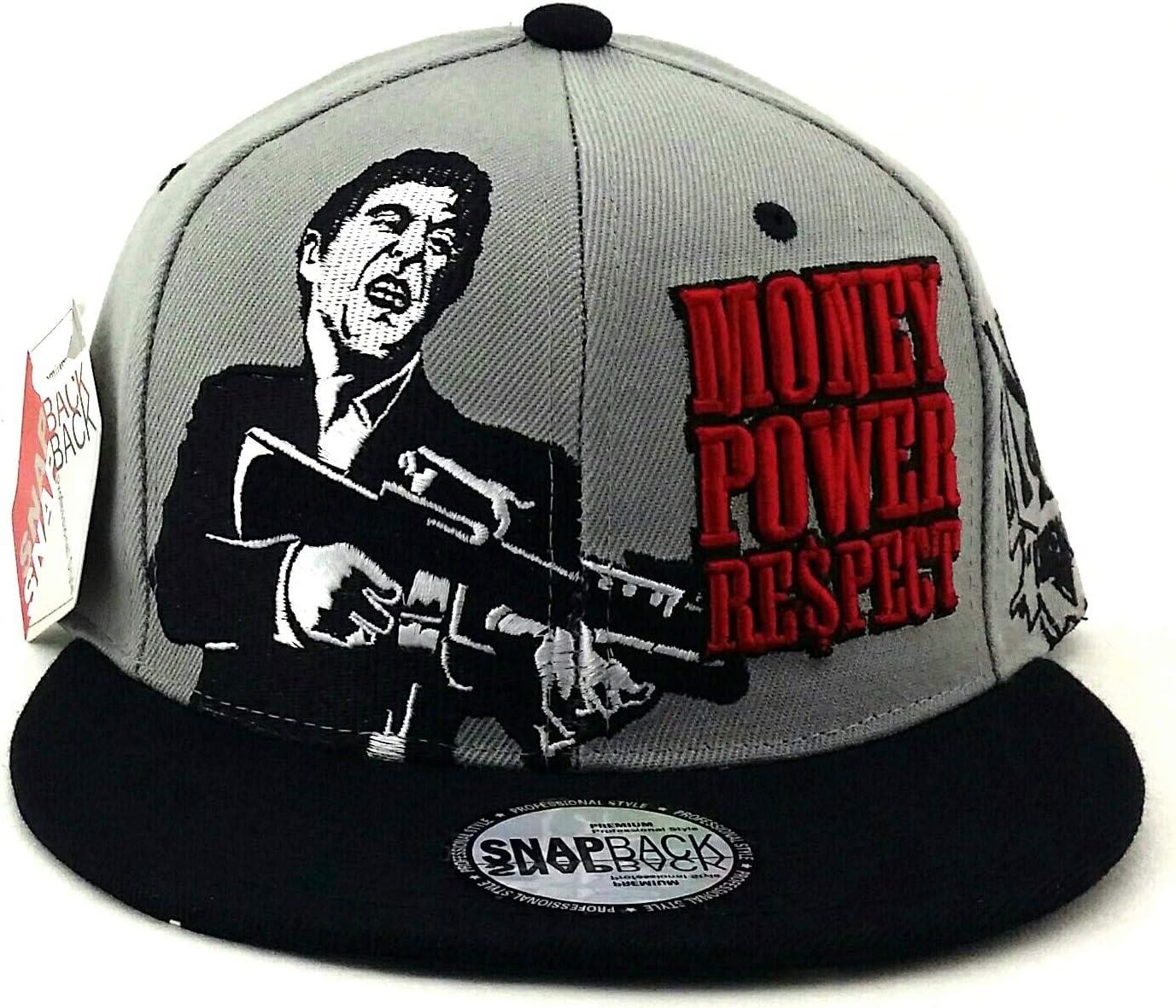 Scarface New Top Pro Money Power Respect Black White Red Era Snapback Hat Cap