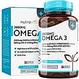 Omega 3 (2000 mg) | 660 mg de EPA y 440 mg de DHA | Cápsulas de gel suave de aceite de pescado puro | Hecho en el Reino Unido por Nutravita.