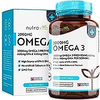 Omega 3 (2000mg) | 660 mg EPA e 440 mg DHA | Capsule di gel morbide all'olio di pesce puro | Prodotto nel Regno Unito da Nutravita