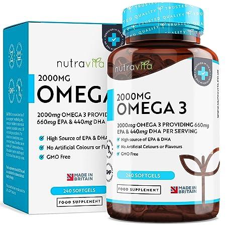 Hochdosiertes Omega-3 (2000 mg)   660 mg EPA & 440 mg DHA   Pure Fisch Öl Kapseln   Hergestellt in Großbritannien von Nutravi