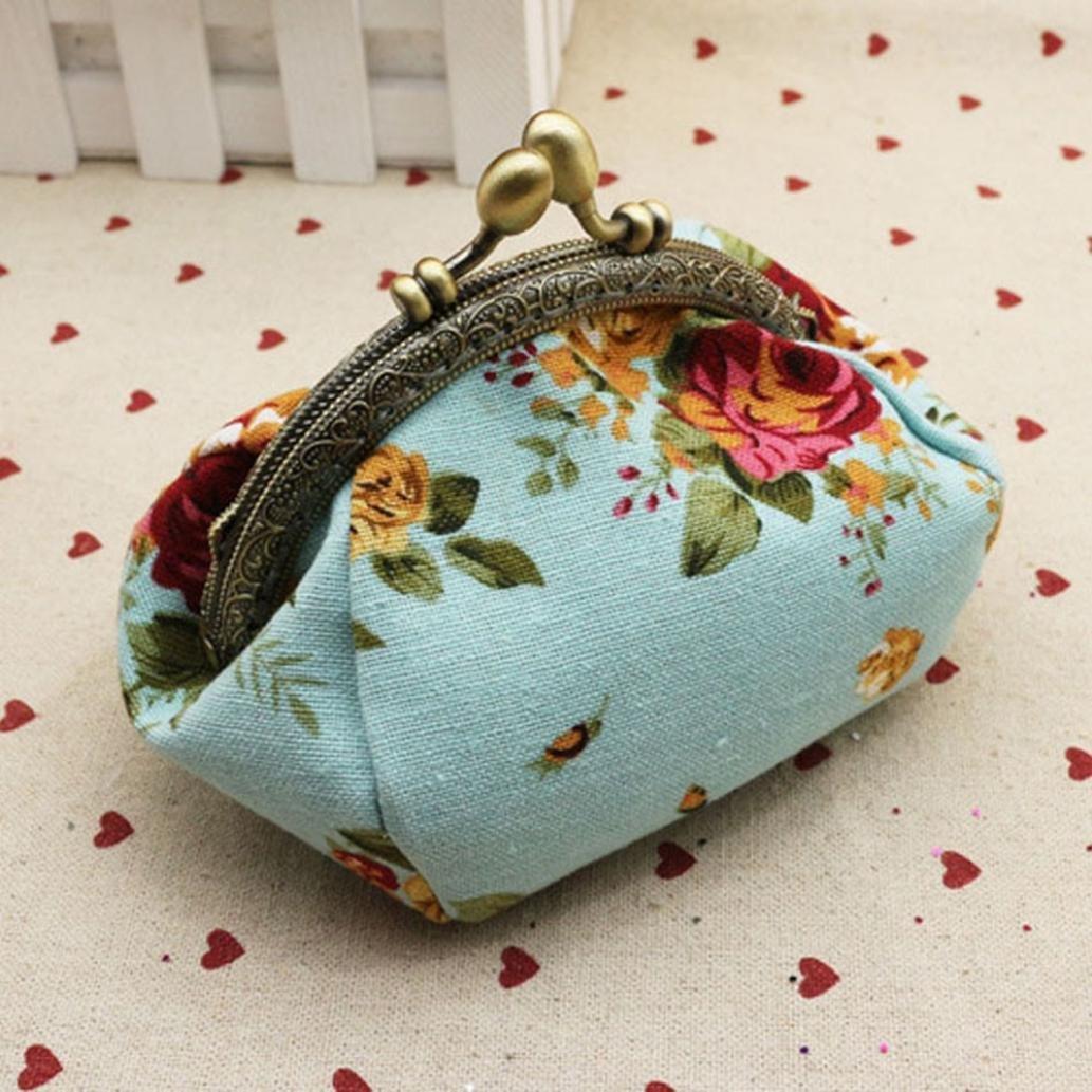 Wallet,toraway Lady Vintage Flower Mini Coin Purse Wallet Clutch bag (Blue) by Toraway (Image #2)