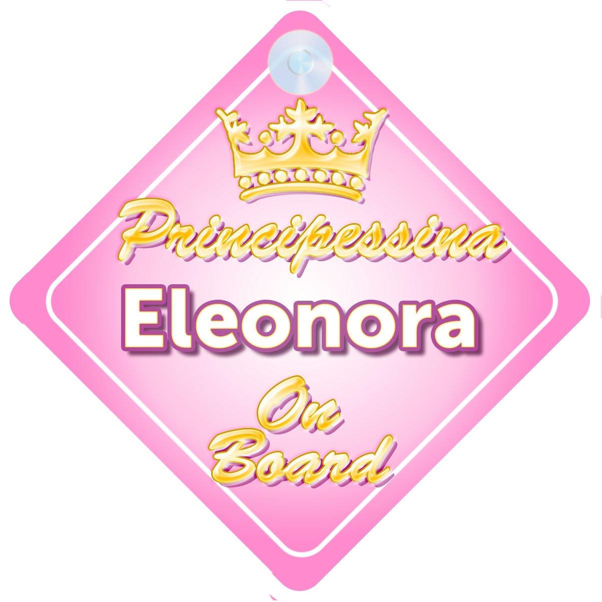 Principessina Eleonora (Crown/Corona) adesivo bimbo / bambina / neonato a bordo per femmina adesivo macchina, bimbi, bambini, famiglia mybabyonboard UK