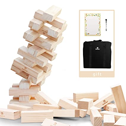 Amazon Lavievert Giant Toppling Timbers Wooden Blocks Game Enchanting Lawn Game With Wooden Blocks