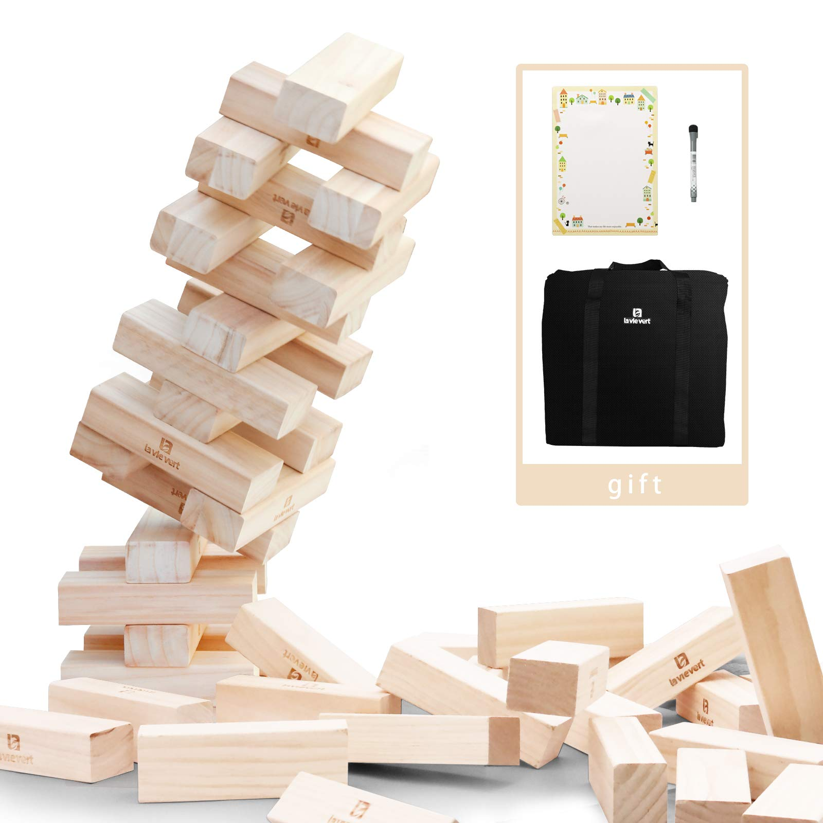 Lavievert Giant Toppling Timbers Wooden Blocks Game Stacking Blocks Stacking Tower a Fun Outdoor, Lawn, Yard Game - 54 Pieces (Stacks up to 5+ Feet. Ages 10+)