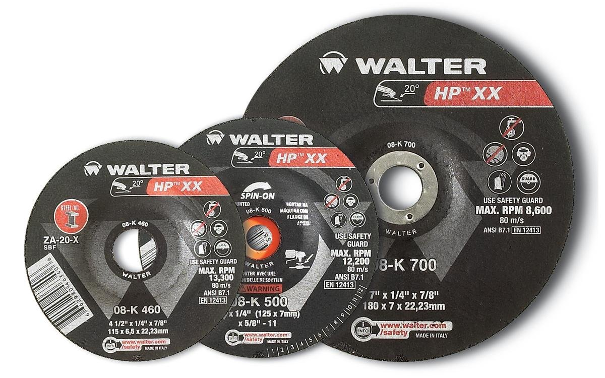Pack of 10 Abrasive Wheels and Discs Walter 08K455 HP XX Grinding Wheel - A-20-X Grit Abrasive Finishing Wheel with Arbor Hole Fastening 4-1//2 in