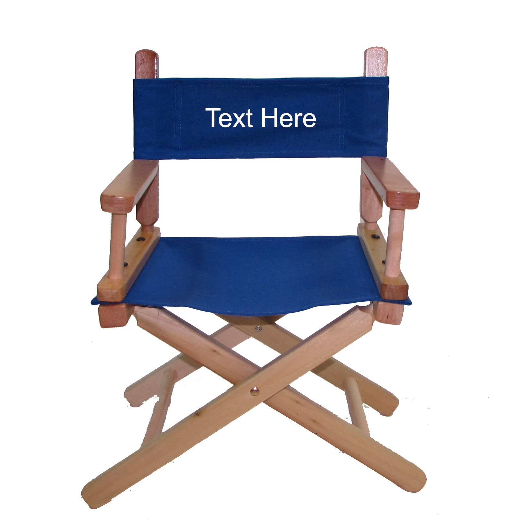 PERSONALIZED IMPRINTED Natural Frame Toddler's Directors Chair by Gold Medal - Royal Blue Canvas