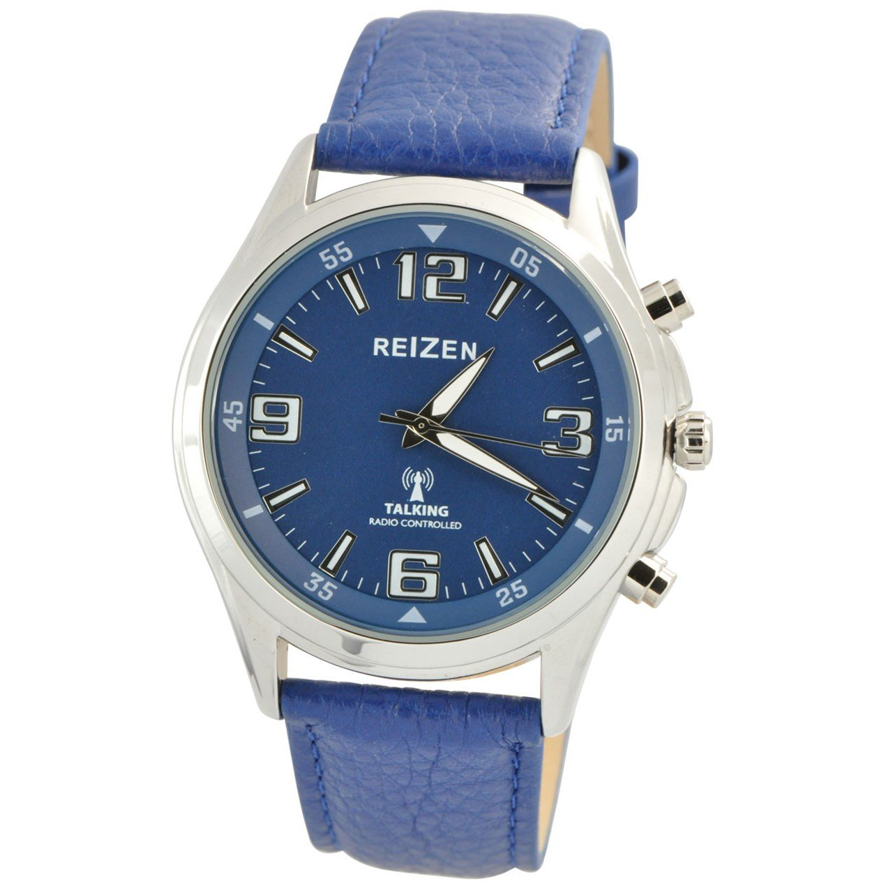 Reizen Talking Atomic Blue Dial Chrome Watch - Blue Leather Band