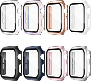 Adepoy 8 Pack Compatible for Apple Watch Case 38mm Series 3/2/1 with Tempered Glass Screen Protector, Hard PC All-Around Ultra-Thin Bumper Full Coverage Protective Case Cover for iWatch Women Men