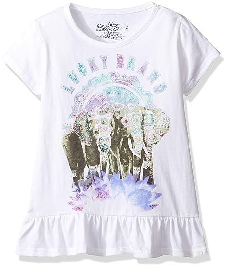 3832eeb70c48e8 Amazon.com  Lucky Brand Girls  Embellished Elephants T-Shirt  Clothing