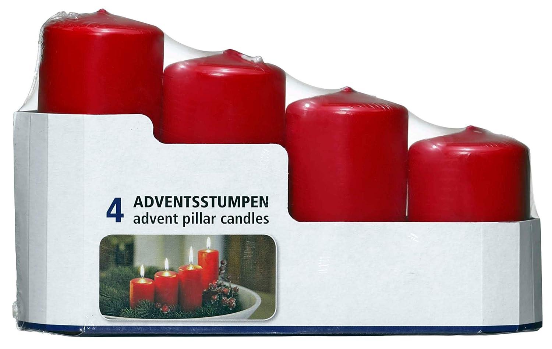 Smart Planet® - Set di 4 Candele Natalizie a Forma di Corona dell'avvento, Colore Rosso Smart-Planet® Kerzen Ambiente Weihnachten - 4er Set Adventskranz Kerze Rot Stumpenkerzen in 4 Größen Weihnachtskerzen Glatt für den Weihnachtskranz