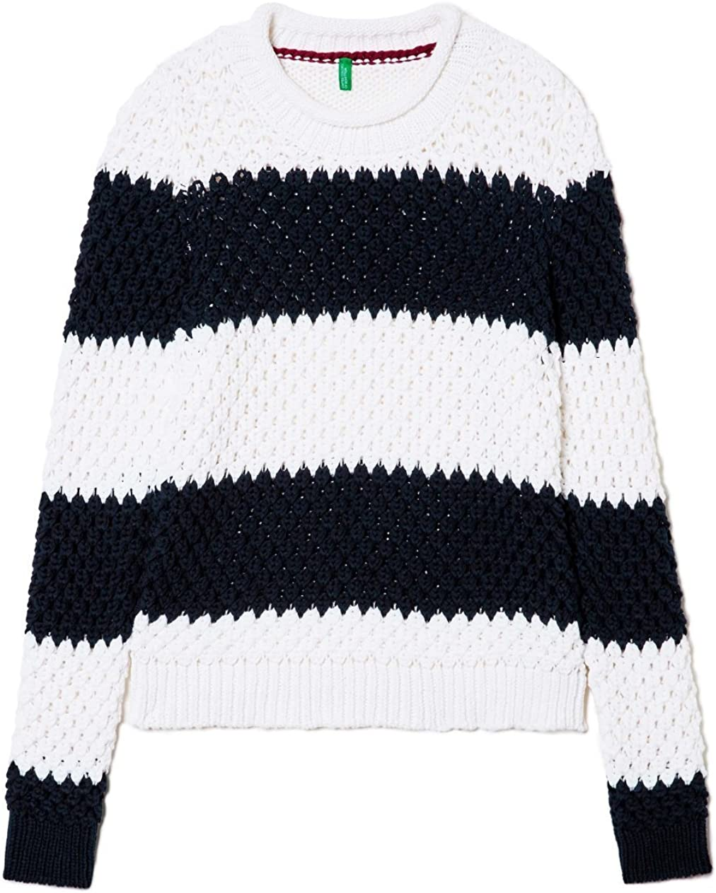 United Colors of Benetton Stripe Chunky Knit Jumper, suéter para Mujer