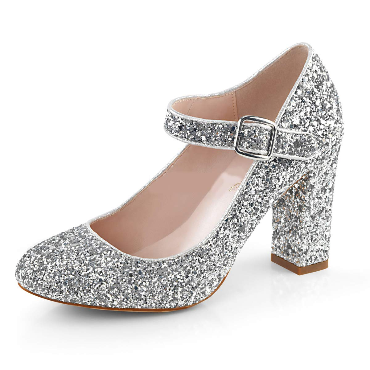 Higher-Heels Fabulicious Damen Glitter Mary Jane Pumps Sabrina-07 Silber Silber Silber Glitter Silber 225112