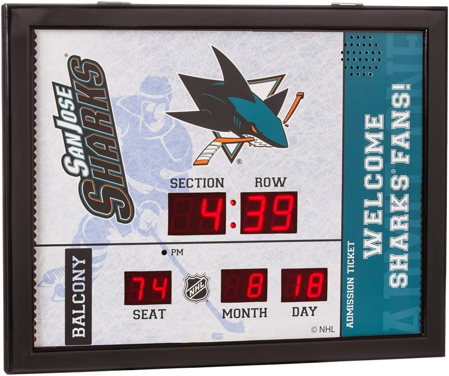 Evergreen NHL San Jose Sharks 14X19 Scoreboard, Team Colors, One Size