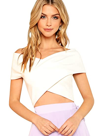 95fe0128cada08 Romwe Women's Going Out Off The Shoulder V Neck Criss Cross Wrap Bardot  Crop Top White M at Amazon Women's Clothing store: