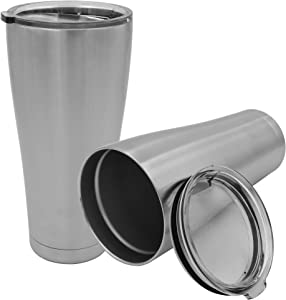 YESSIR 32oz Stainless Steel Tumbler 2 Pack Gifts In Bulk, Reusable Double Wall Vacuum Insulated Travel Mugs with Lid,Powder Coated Coffee Cups for Hot Beverage Water Bottle Gift for Man (Sliver,2 Set)