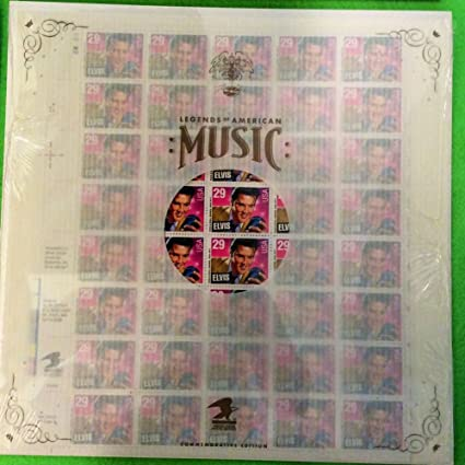 Elvis Presley Sheet Of 40 29 Cent Stamps And Saver Sleeve Legends American