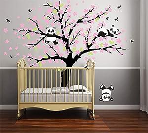 Three Playful Pandas Bear on Cherry Blossom Tree Wall Decal Tree Wall Sticker Nursery and Children's Room (White+Pink)