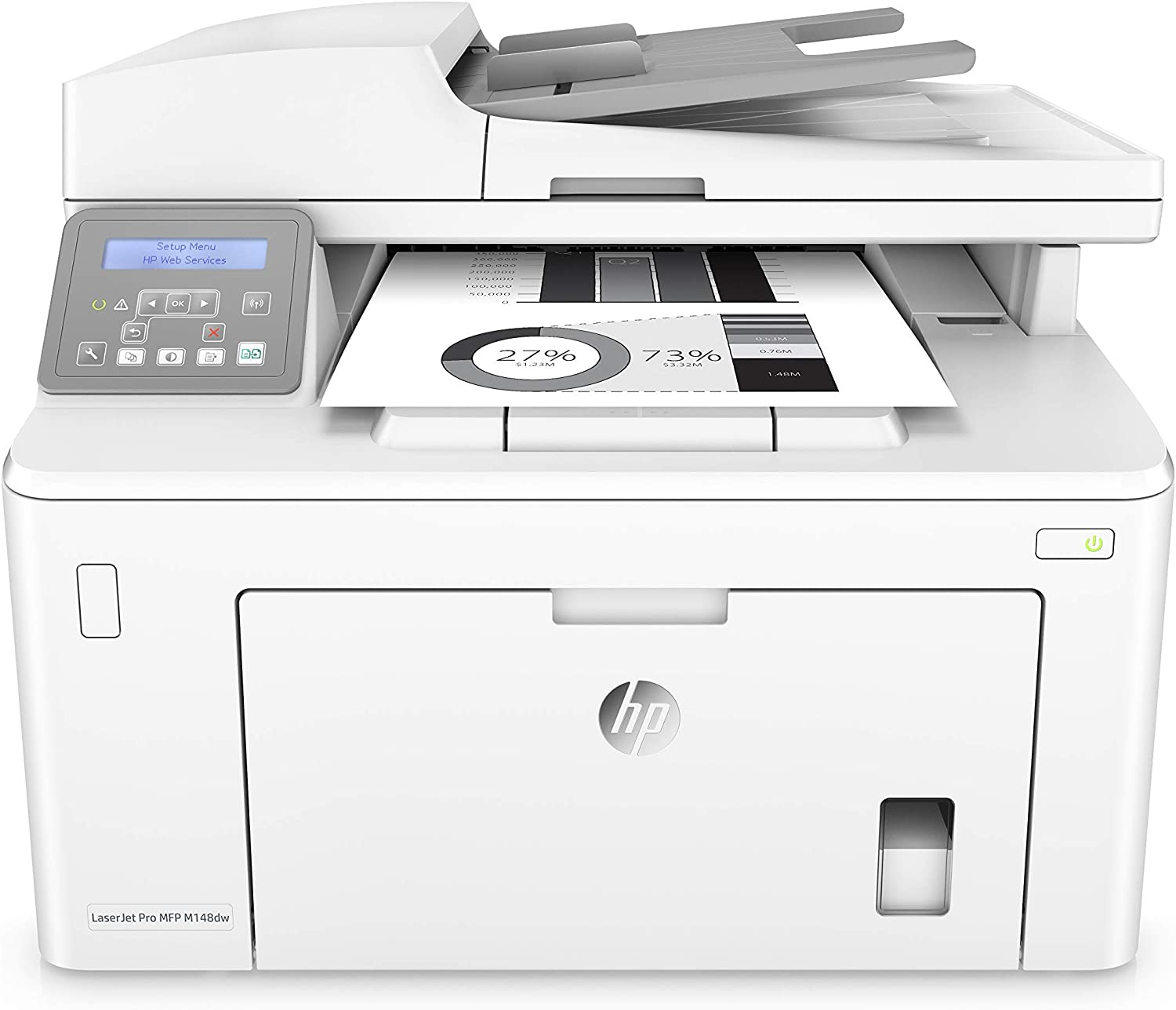 HP Laserjet Pro M148dw All-in-One Wireless Monochrome Laser Printer with Auto Two-Sided Printing, Mobile Printing & Built-in Ethernet (4PA41A) (Renewed)