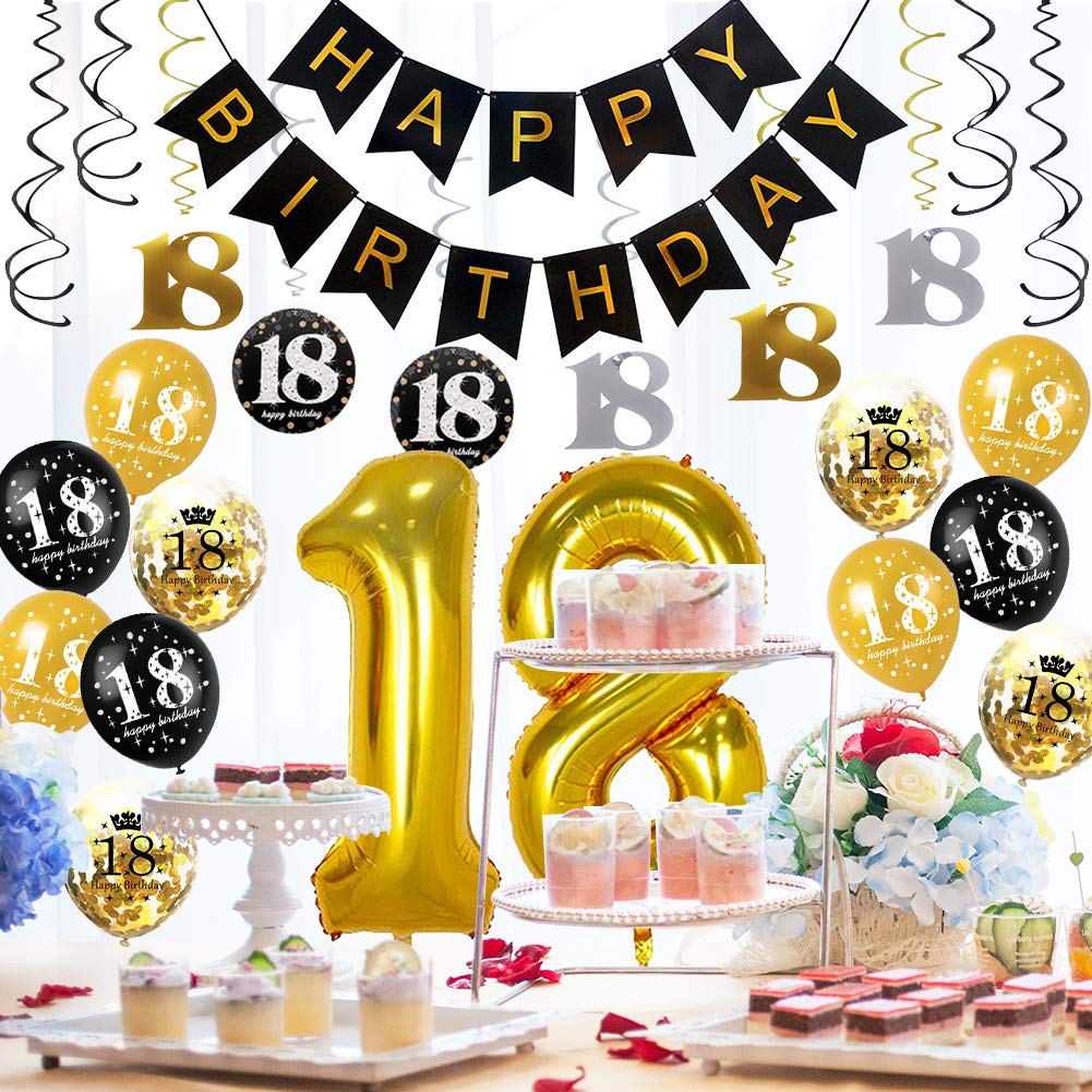 Amazon HankRobot 18th Birthday Decorations Party Supplies42pack Gold Number Balloon 18 Happy Banner Latex BalloonsBlack Golden Confetti