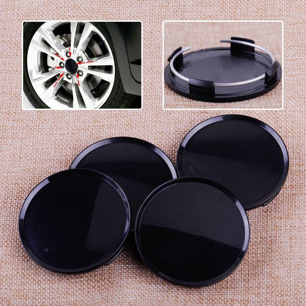 beler 4pcs Black 63mm Car Vehicle Wheel Center Hubs No Badge Caps Covers Emblem