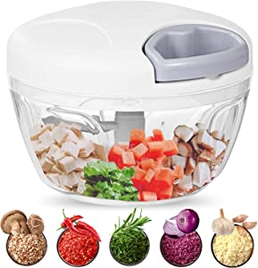 Food Chopper, 500ML Hand-Powered Portable Food Processor, Manual Vegetable Slicer and Dicer, Pull Chop Mechanism Cutter for Garlic, Onion, Vegetable, Salad, Pepper (White)