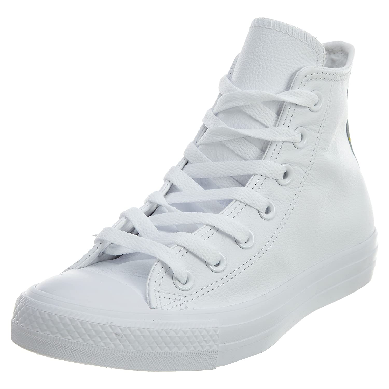 Leather High Mono-White Sneakers Men