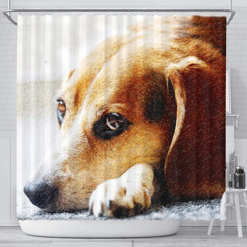 Mamazz Beagle Dog Art Print Shower Curtains by Mamazz