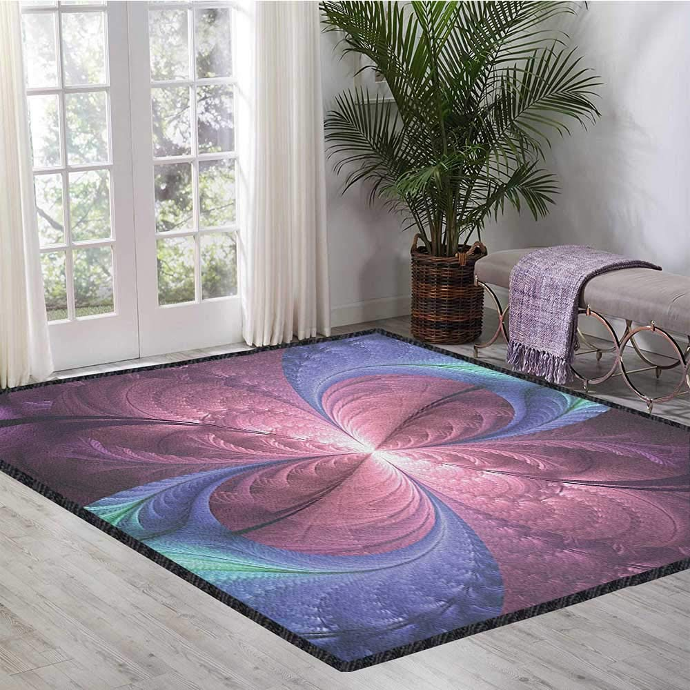 Trippy Modern Area Rug with Non-Skid,Purple and Blue Flower Vortex Abstract Flourish Design Ornament Anti-Static,Water-Repellent Dried Rose Cadet Blue Aqua 55''x63'' by Philip C. Williams