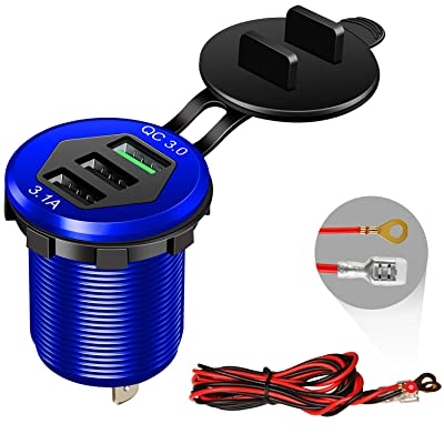 Quick Charge 3.0 Car Charger, 12V/24V 35W QC3.0/2.0 USB Charger Socket, 3 USB Charger Socket Power Outlet Fast Charge with Wire Fuse Aluminum Car Boat Marine ATV Bus Truck Golf Cart and More(Blue: Electronics