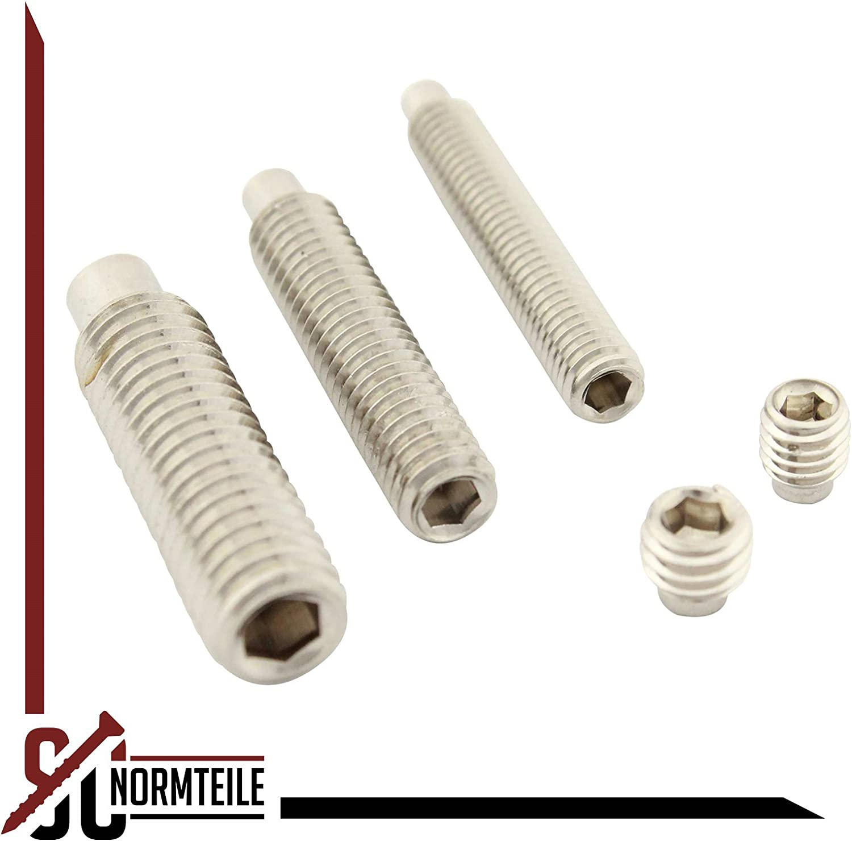 - aus rostfreiem Edelstahl A2 20 St/ück SC-Normteile DIN 915 - Madenschrauben - SC915 Gewindestifte mit Innensechskant und Zapfen ISO 4028 V2A M4 x 16 mm -