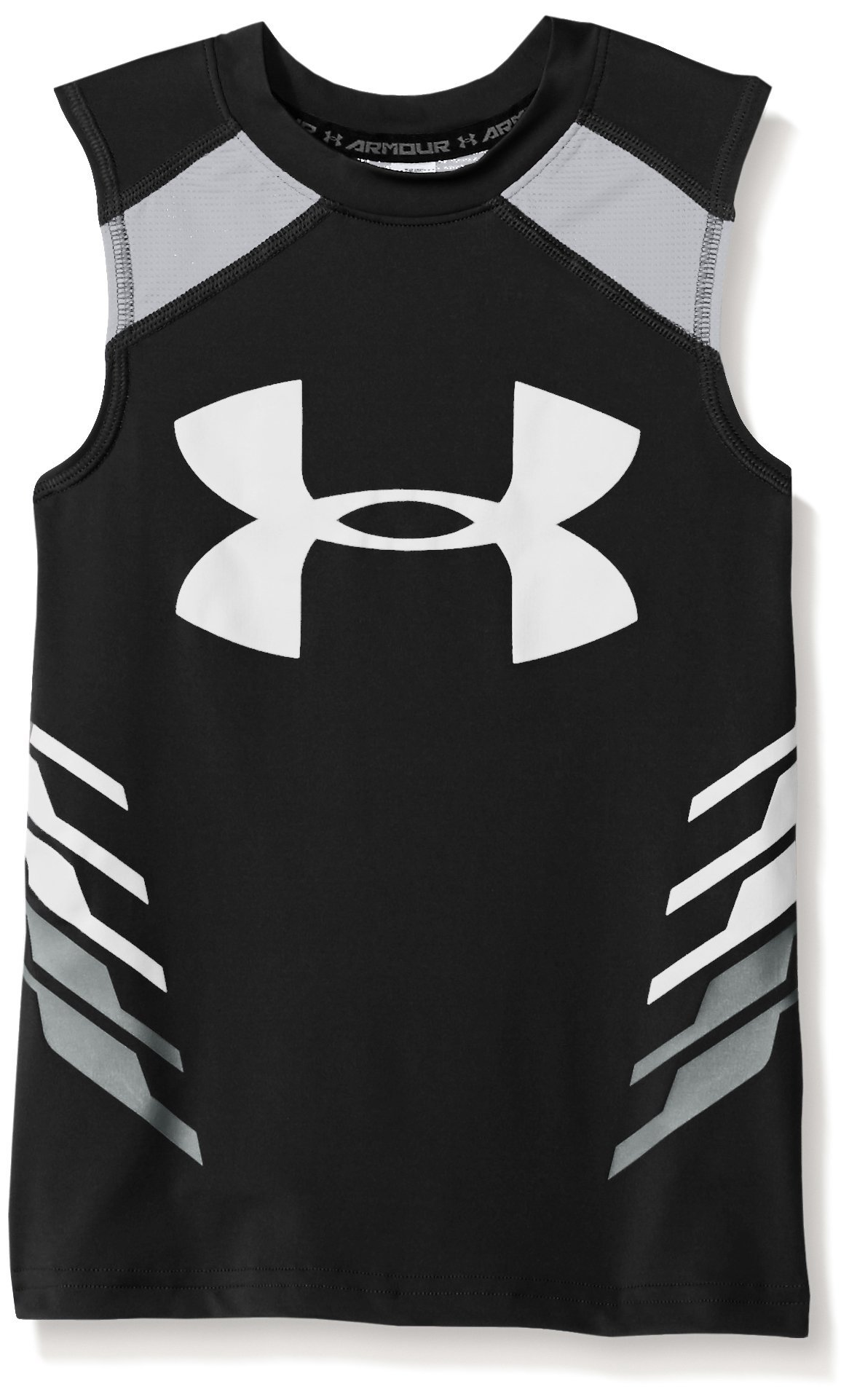 Under Armour Boys' HeatGear Armour Up Fadeaway Fitted Tank, Black /White, Youth X-Large