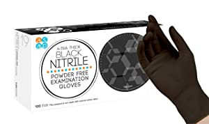 ASAP Black Nitrile Powder Free Examination Gloves, Disposable, 4 mil, Black (Medium - Box of 100)