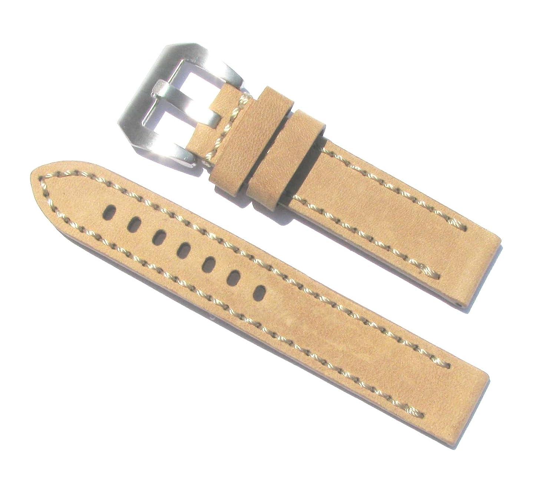 20 mmベージュ木製カラーExtra Thick Heavy Dutyレザー腕時計バンド  B01IU122HE