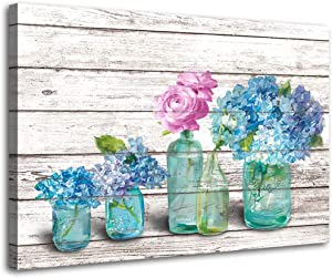 Kitchen Wall Decor Canvas Print Beautiful Watercolor-Style Colorful Flowers In-Mason Jar Floral Print Wall Decor Dining Room Bathroom Bedroom Printed Canvas Wall Art 12x16inch