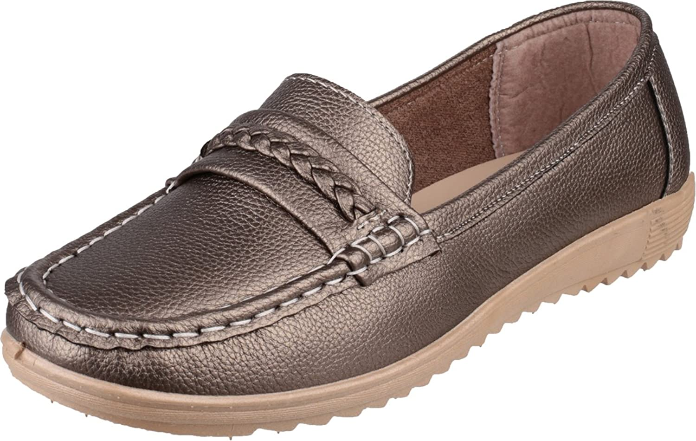Amblers girls Amblers Ladies Thames Slip On Moccasin Style Shoe Pewter PU