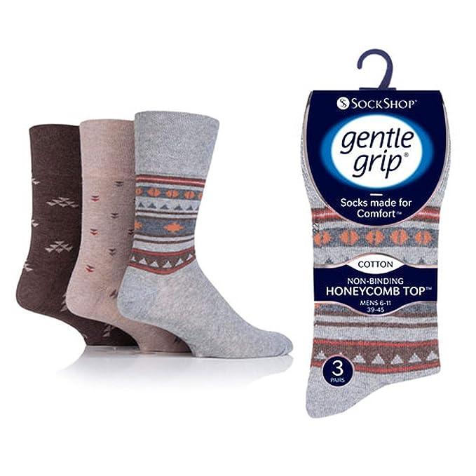Gentle Grip Men Socks Soft Cotton Honeycomb Non Elastic Top Size 6-11