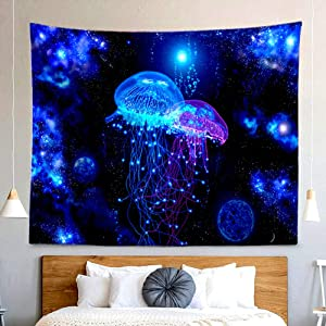 Blue Cosmic Jellyfish Tapestry Hippie Trippy Galaxy Universe Wall Hanging Decor Indian Mandala Bohemian Large Tapestry for Bedroom Living Room Dorm(80x60 Inch)