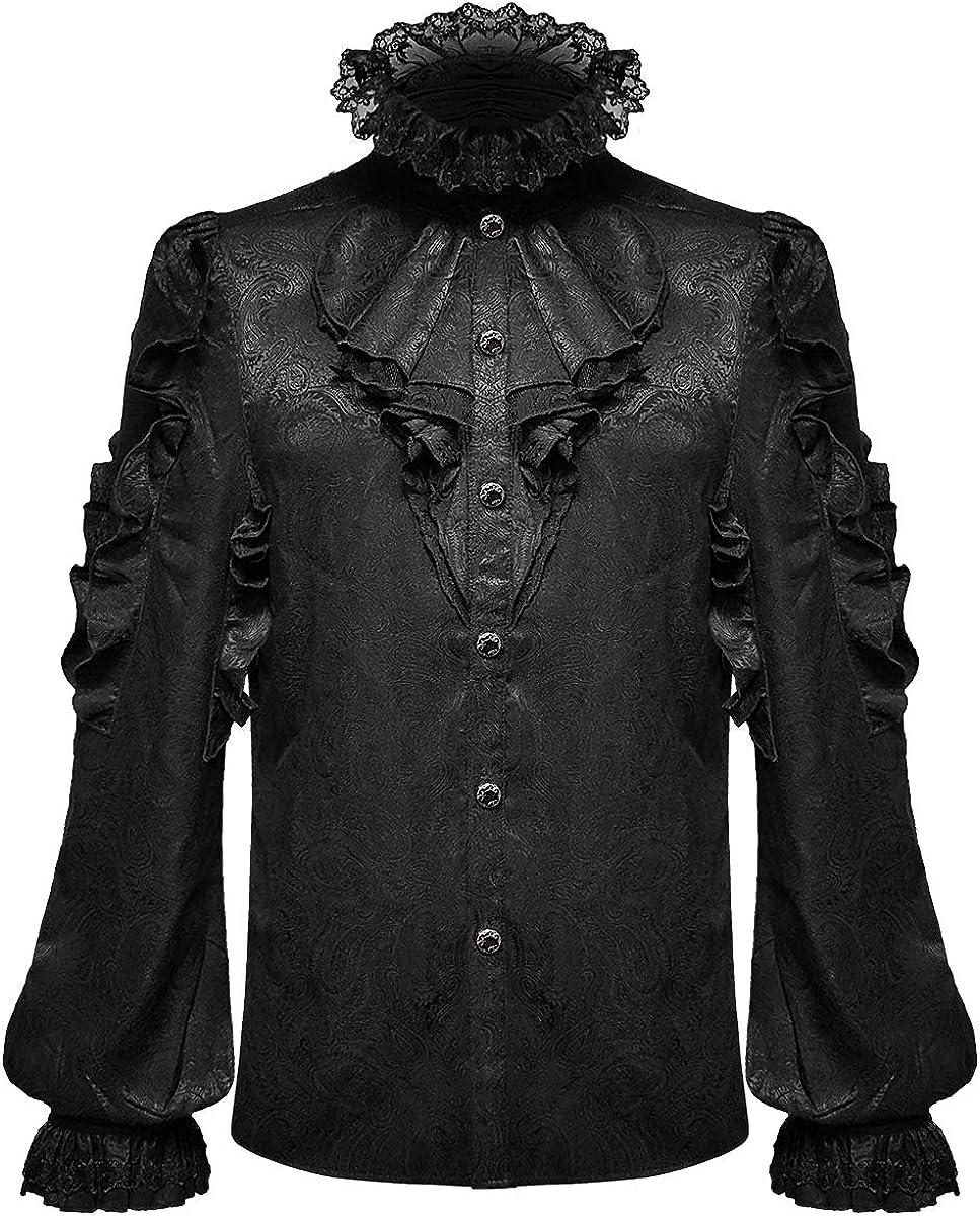 Devil Fashion - Camisa gótica para Hombre, diseño de Cachemira, Color Negro: Amazon.es: Ropa y accesorios