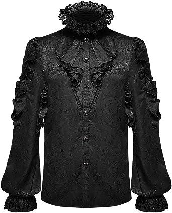 Devil Fashion Mens Gótico Camisa Top Negro Paisley Brocade Steampunk Vampiro Volantes Cravat Jabot Boda