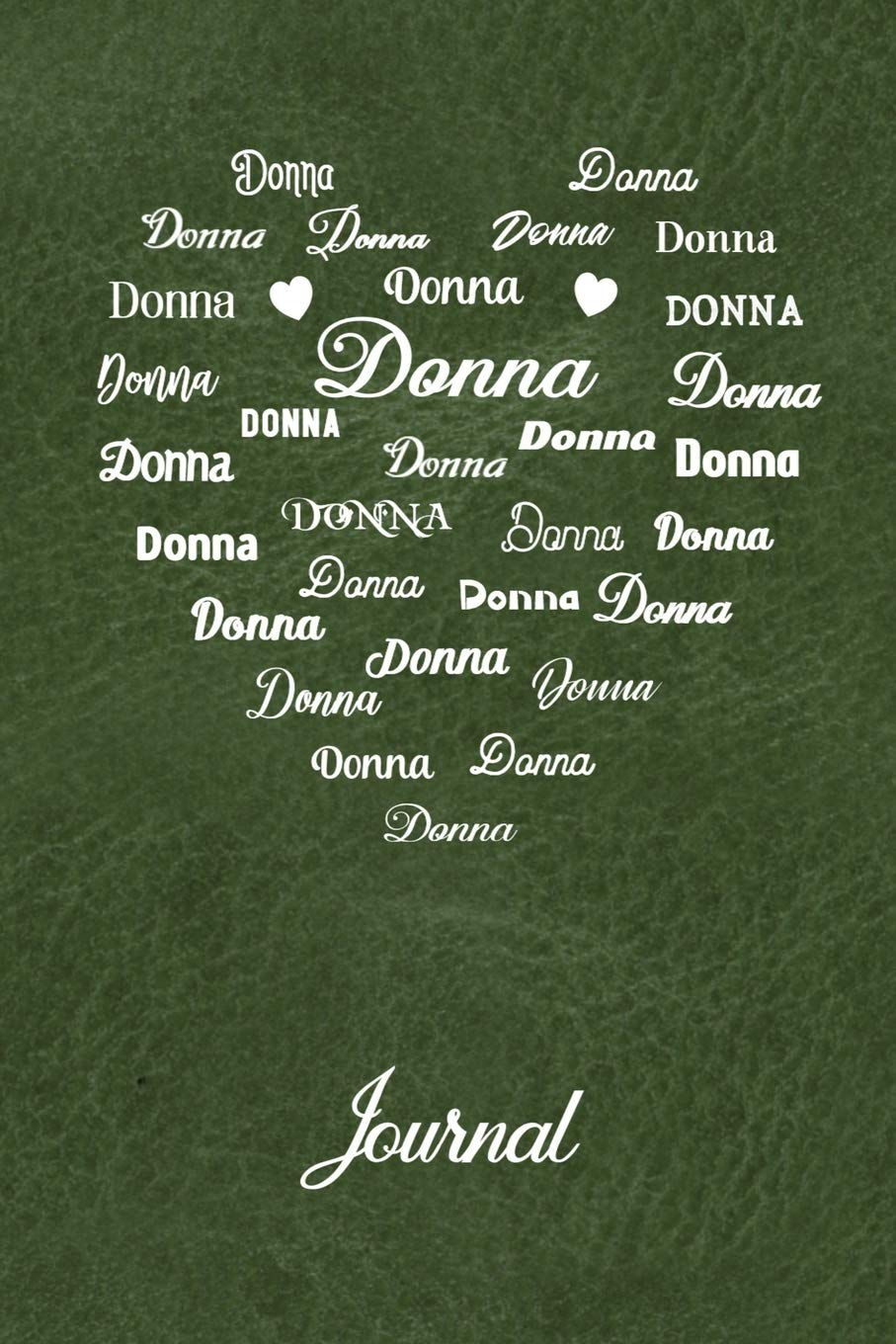 Buy Personalized Journal Donna Name In Many Different Fonts In Heart Shape On Olive Green Leather Look Background Book Online At Low Prices In India Personalized Journal Donna Name,What Color To Paint Exposed Basement Ceiling