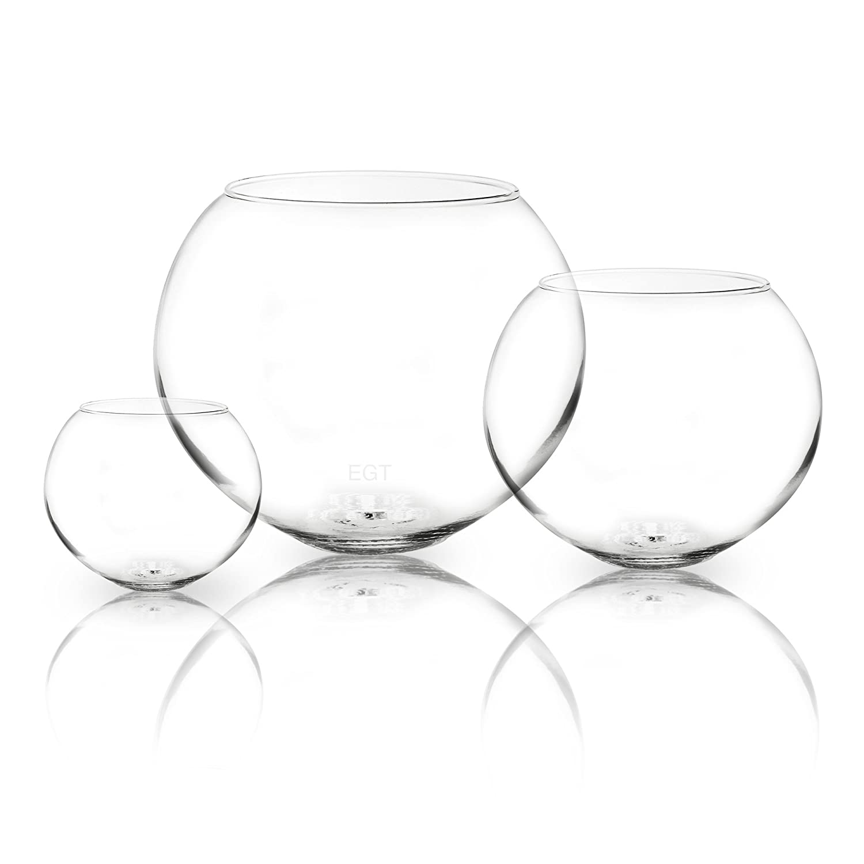 Cuenco de cristal redondo para usar como jarrón, pecera, centro de mesas en bodas o para velas flotantes, vidrio, Medium: Amazon.es: Hogar