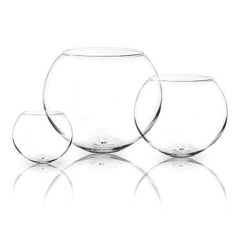 Cuenco de cristal redondo para usar como jarrón, pecera, centro de mesas en bodas
