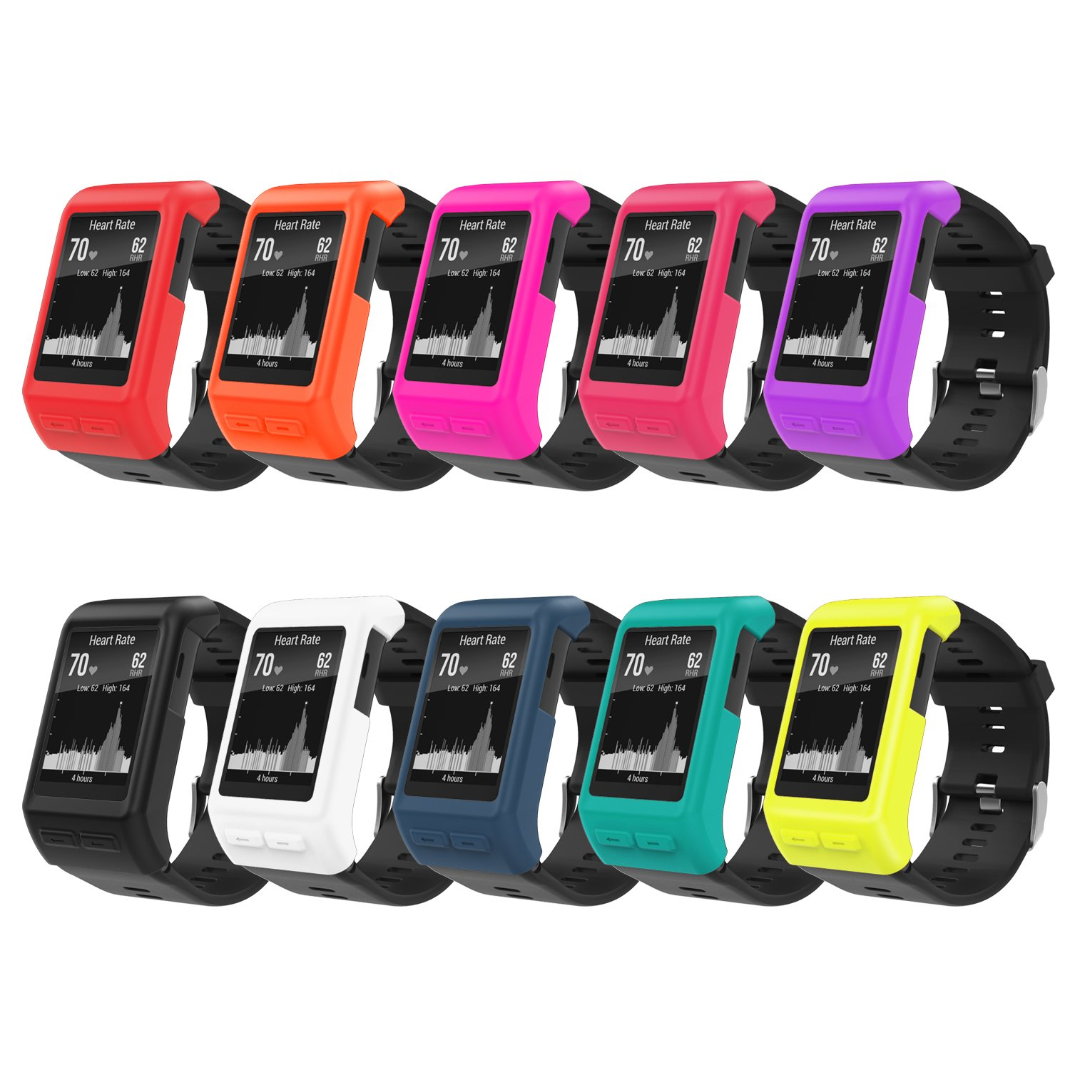 MoKo Case for Garmin Vivoactive HR Watch, [10 PACK] Soft Silicone Full Body Protective Cover Accessories for Garmin vivoactive HR Smart Watch, Multi Colors (10PCS) by MoKo