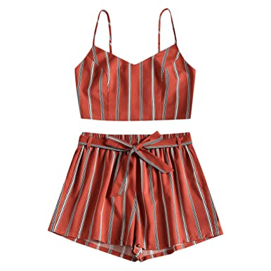 a5b4e4acd1 Amazon.com  ZAFUL Women Bikini Set Cami Dots Stripe Shirred Top and Shorts  Tankini Swimsuit Strap Smocked Slip Suit  Clothing