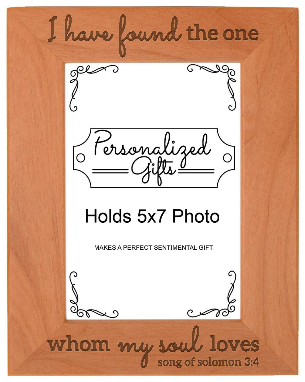Personalized Gifts Wedding Gift Couples Christian Bible Verse Natural Wood Engraved 5x7 Portrait Picture Frame Wood
