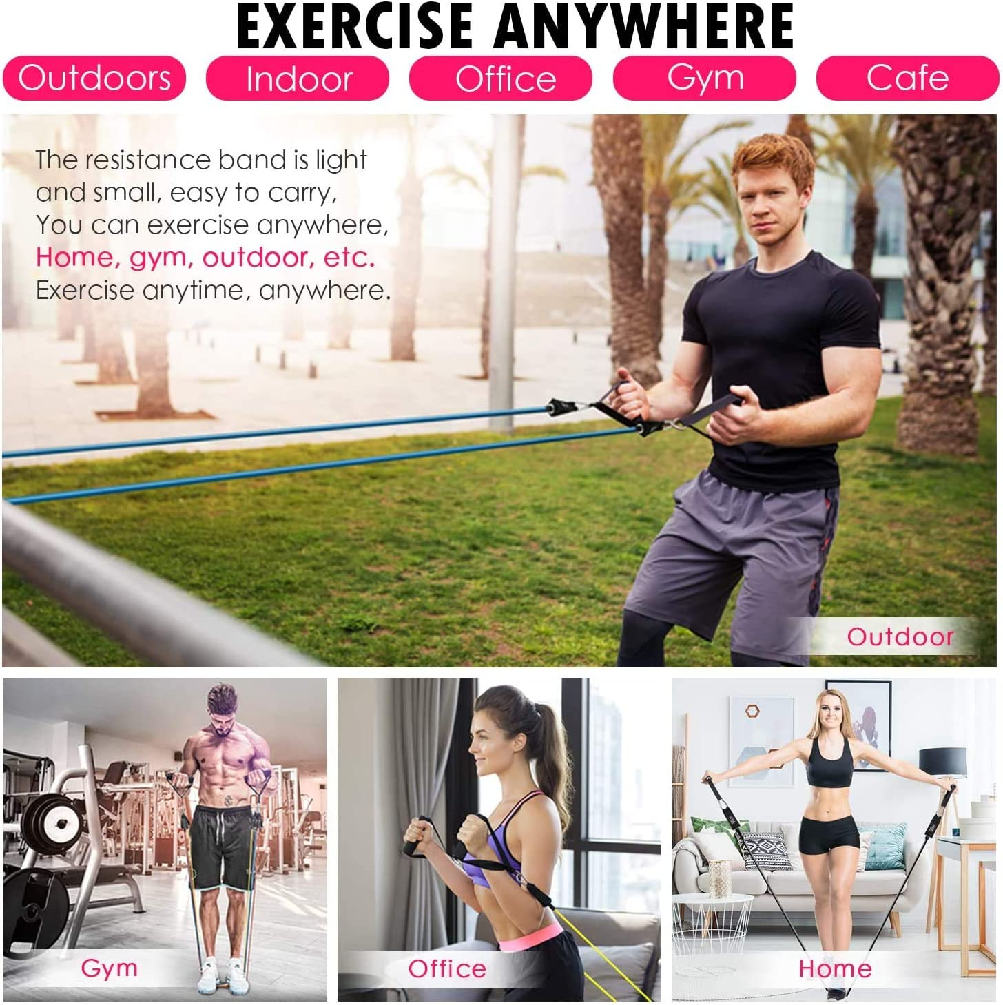 Home Workouts Resistance Band Set Carrying Case /& Guide Ebook for Resistance Training Include 5 Stackable Exercise Bands with Door Anchor Physical Therapy Ankle Straps