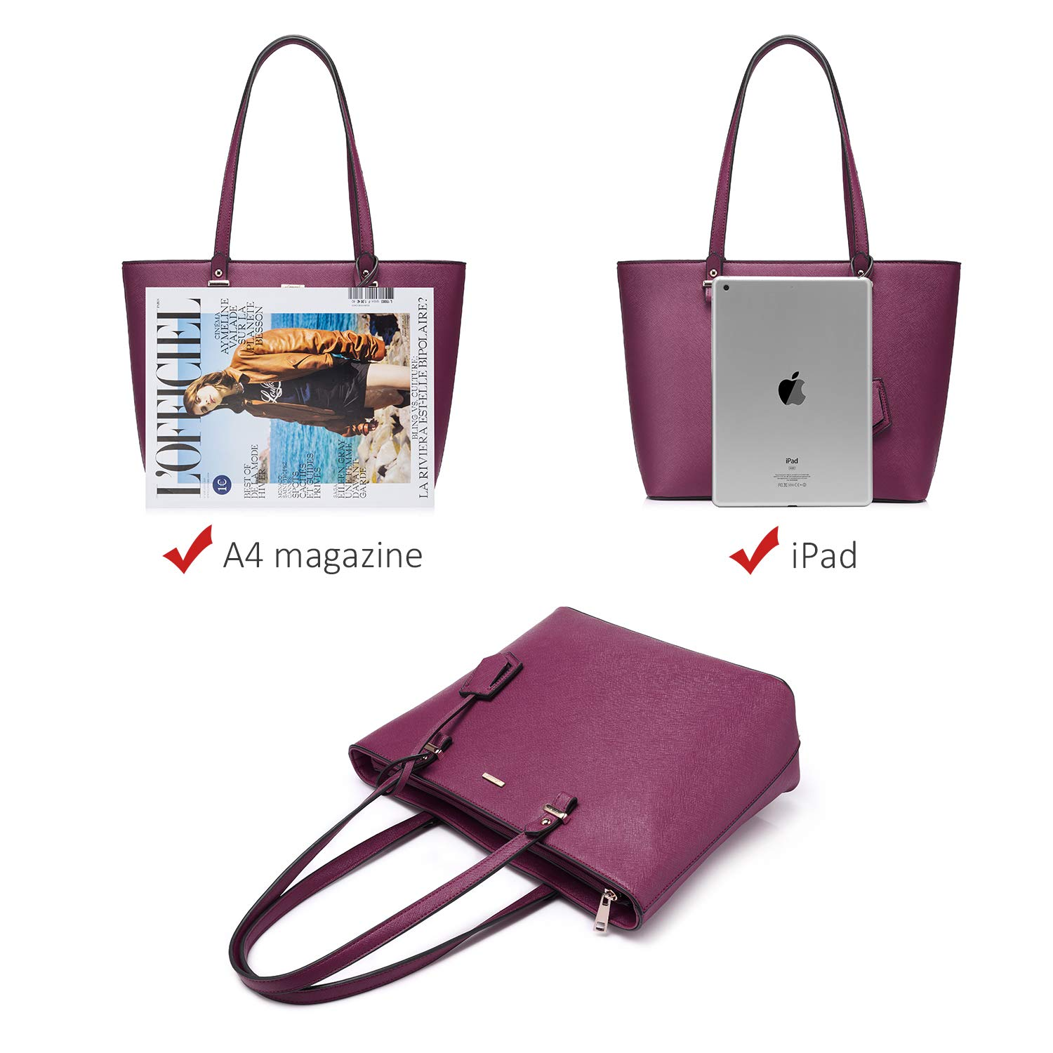 Handbags for Women Tote Bag Shoulder Bags Fashion Satchel Top Handle Structured Purse Set Designer Purses 3PCS PU Stand Gift Sexy Purple by LOVEVOOK (Image #3)